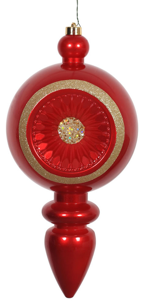 15 75 X7 8 Red Diamond Finial Shatterproof Christmas Ornament Uv Resistant Contemporary Christmas Ornaments By Virventures