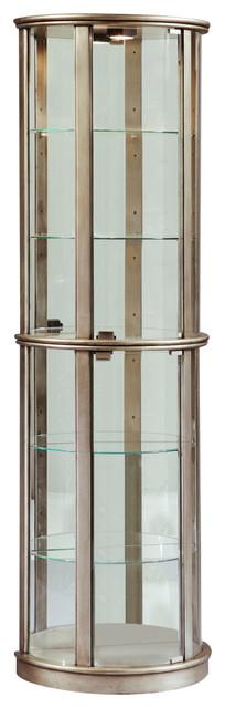 Metallic Mirrored Half-Round Display Cabinet - Transitional ...