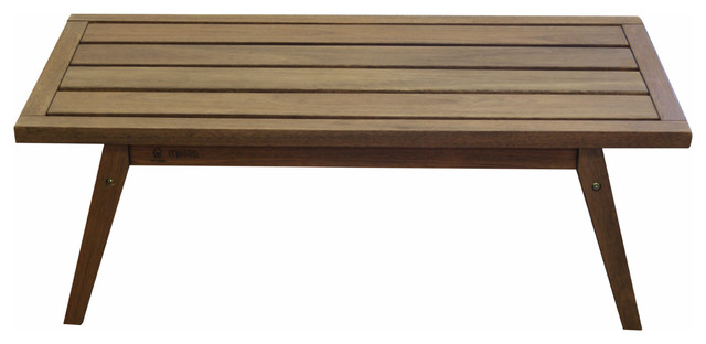 Timbo Mestra Hardwood Outdoor Patio Rectangular Coffee Table Transitional  Outdoor Coffee Tables