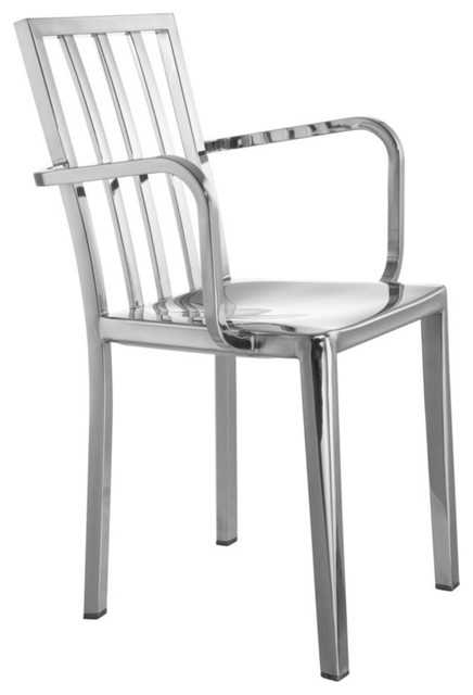 Fine Mod Imports Polished Steel Dining Chair, Silver Finish by Fine Mod Imports