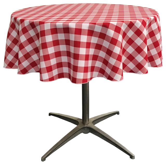 La Linen Round Gingham Checkered Tablecloth Traditional