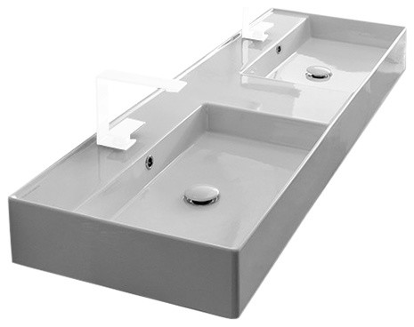 "56"" Double Wall Mounted/Vessel Sink, 2-Hole"
