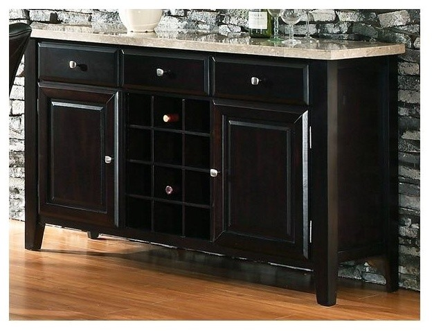 Monarch Marble Top Server w Wine Rack in Black Finish - Contemporary - Buffets And Sideboards ...