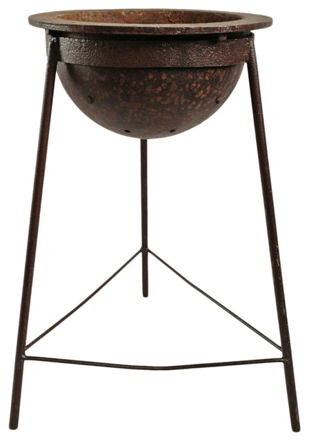 Remarkable Consigned Iron Cauldron On Stand Lamtechconsult Wood Chair Design Ideas Lamtechconsultcom
