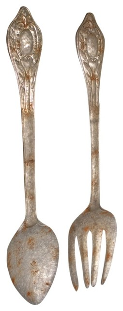 Large Fork And Spoon Wall Decor large metal fork and spoon wall decor, 2-piece set - farmhouse