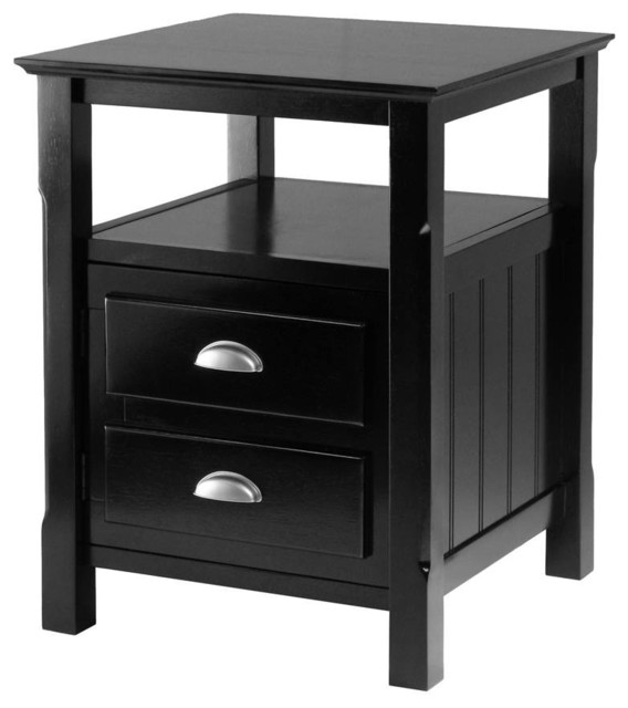 Timber 2 Drawer Nightstand In Black Finish.