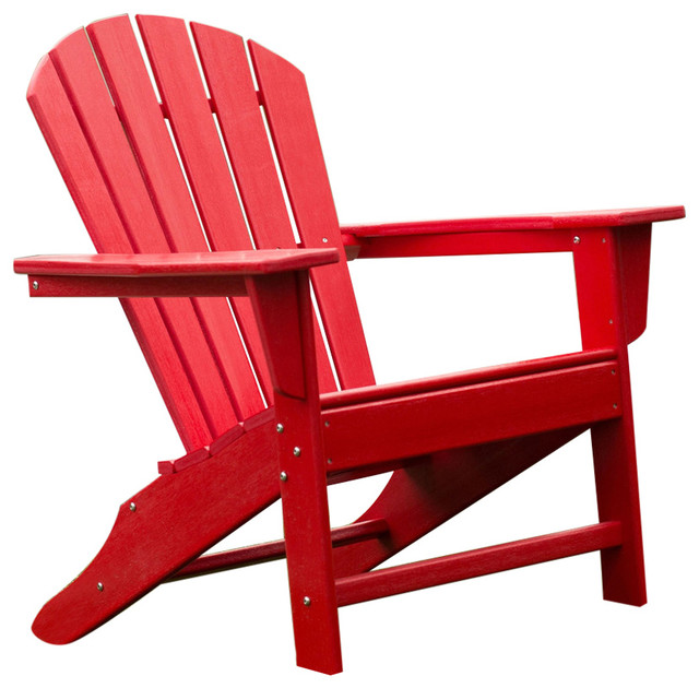 Outdoor Patio Seating Garden Adirondack Chair Red Heavy Duty Resin Adirond