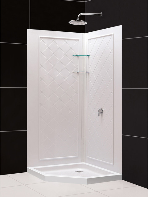 DreamLine SlimLine Neo Angle Shower And QWALL 4 Shower Backwall Kit    Modern   Shower Stalls And Kits   By Luxvanity