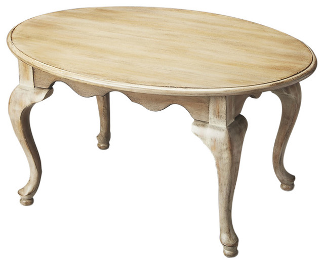 Butler grace oval cocktail table farmhouse white view for Oval farmhouse coffee table