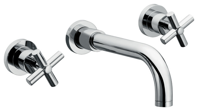 Wall Mount Sink Faucet With 2 Handles Contemporary Bathroom Sink