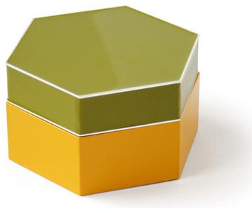 Enamel Hex Box Modern Storage Bins And Boxes