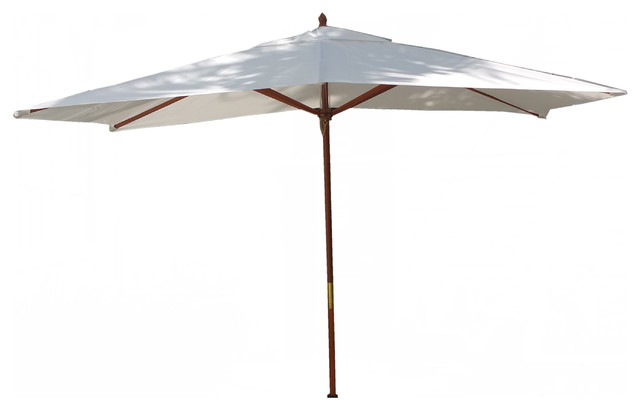10&x27; Rectangle Umbrella Wooden Pole Canvas Charcoal Sunbrella Cushion.