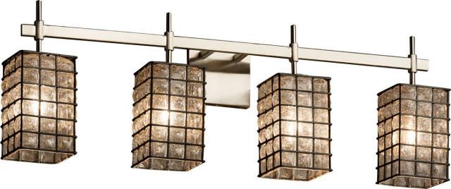 Wire Glass - Union Bath Bar - Brushed Nickel