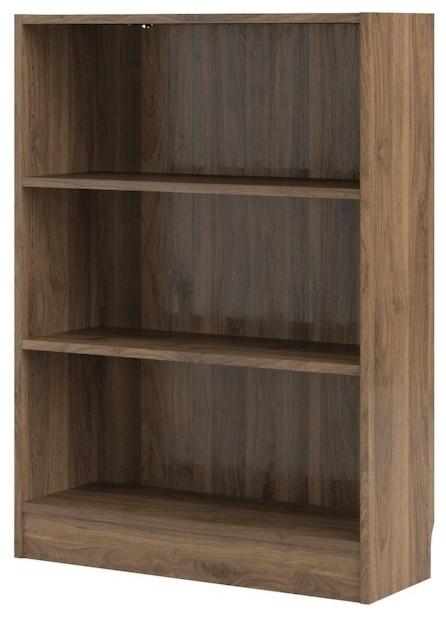 "Element Short Wide 3 Shelf Bookcase, Walnut, 31.1"""