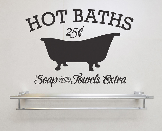 Hot Baths Soap And Towels Extra Removable Vinyl Wall Art. -1