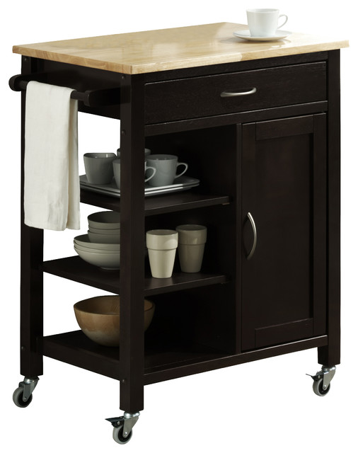 edmonton kitchen cart with wood top, black  modern  kitchen,