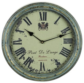 French Themed Wall Clock Weathered Gray Classic Pont De Lange Decor 59360