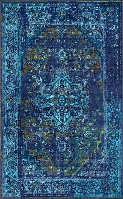 Olivia Printed Persian Rug, Blue, 8&x27;x10&x27;.