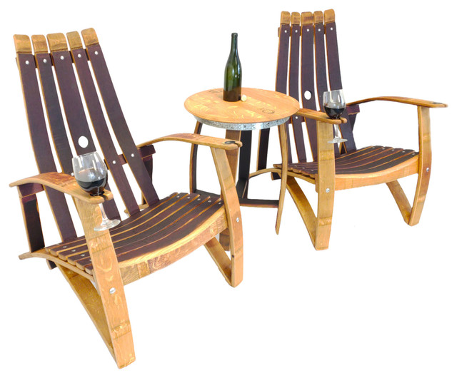 Wine Barrel Stave Adirondack Chair Set Farmhouse Outdoor Lounge
