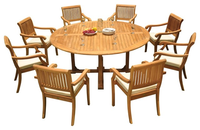 9 Piece Outdoor Teak Dining Set 72 Round Table 8 Arbor Stacking Arm Chairs