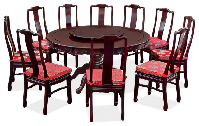 60in Rosewood Round Dining Table Set, Round 10 Seat Dining Table
