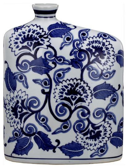 "Blue & White Ceramic Vase 8""x3""x11"""