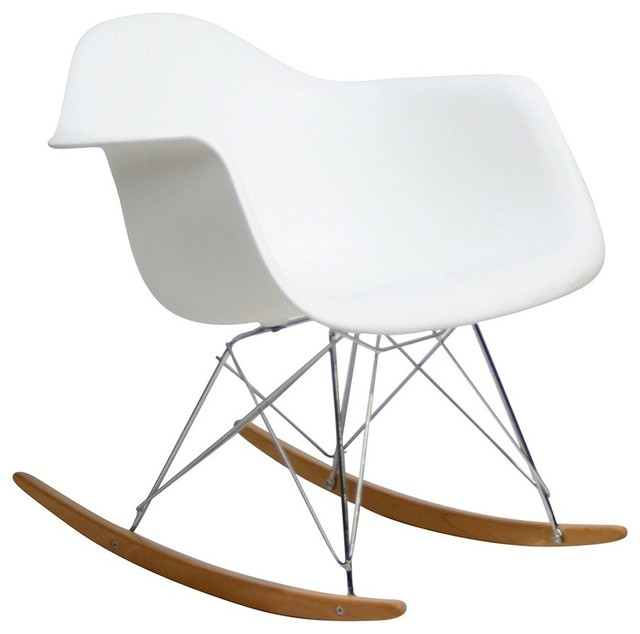 mid century modern dsw style rocking chair with arms for kids white