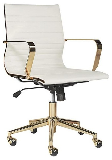 Bustan Office Chair Gold White Contemporary Office Chairs By Rustic Home Furnishings
