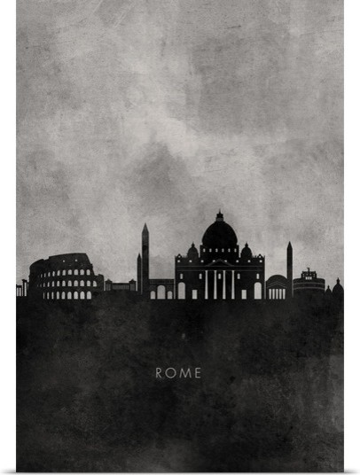 Black and white minimalist rome skyline poster print wall art