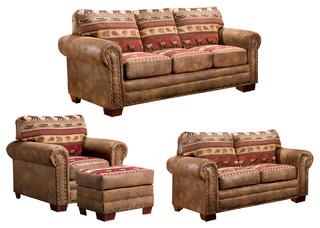 Yosemite 4Piece Sleeper Sofa Set Rustic Living Room Furniture