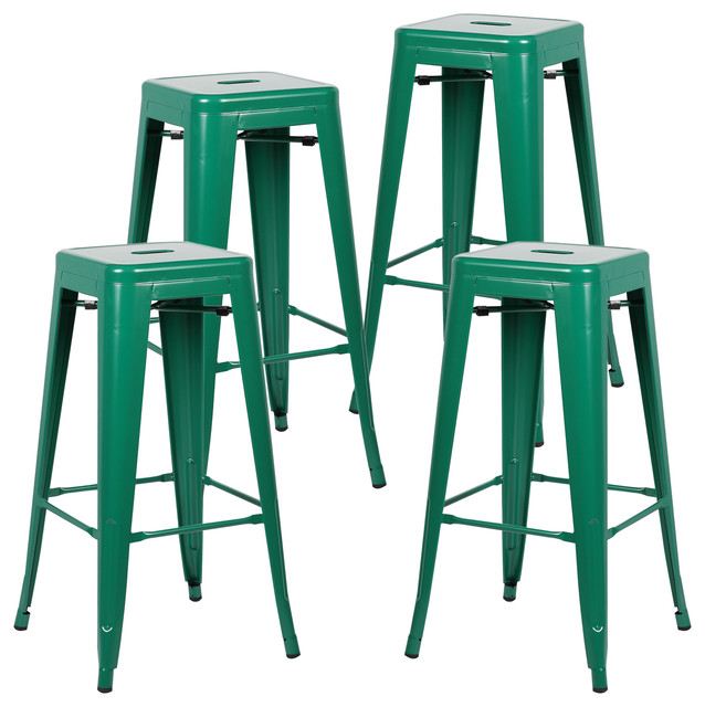 Incredible Poly And Bark Trattoria Bar Stool Set Of 4 Dark Green Gamerscity Chair Design For Home Gamerscityorg