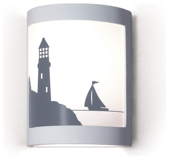 Bay Harbor Lighthouse/Boat Nautical Silhouette Wall Sconce - Beach Style - Wall Sconces - by The ...