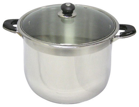 24 Qt Capacity 18/10 Stainless Steel Stock Pot With Glass Lid.