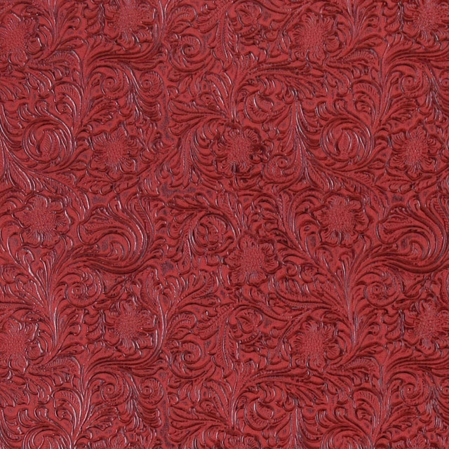 Red Tooled Floral Designed Upholstery Faux Leather By The