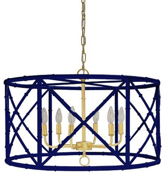 Worlds Away Zia Bamboo Chandelier Navy With Gold Cer