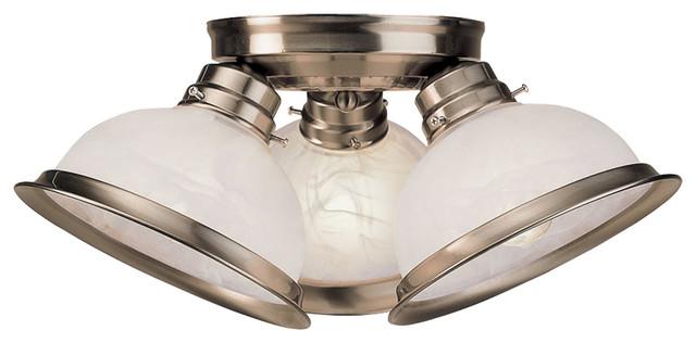 Home Basics 3-Light Semi-Flush Mounts, Brushed Nickel.