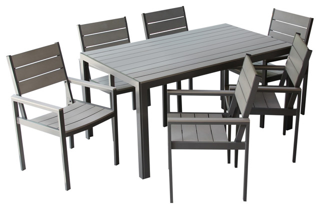 7pc Winston Outdoor Dining Set Gray Contemporary Outdoor Dining