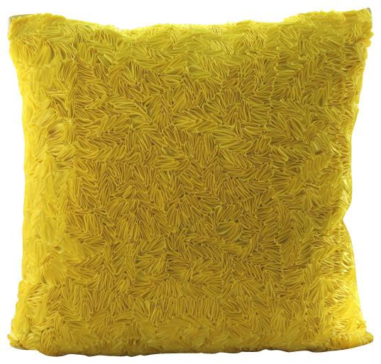 "Yellow Art Silk 16""x16"" Textured Ribbon Pillow Cases, Yellow Sunshine"