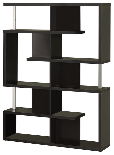 Black Spacious Wooden Bookcase.