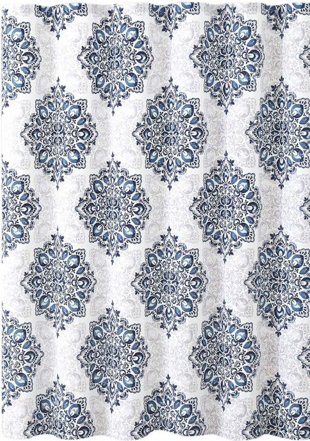 Navy Blue White Fabric Shower Curtain Floral Medallion Damask Design Contemporary Shower Curtains By Curtain Call Houzz