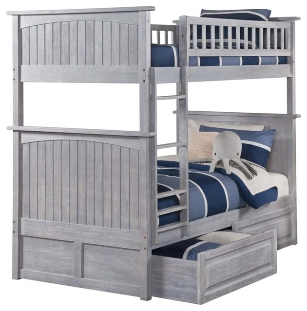 Atlantic Furniture Nantucket Twin Over Twin Storage Bunk Bed.