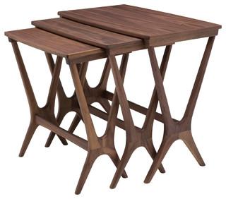 Josef Nesting Tables, 3-Piece Set, Walnut