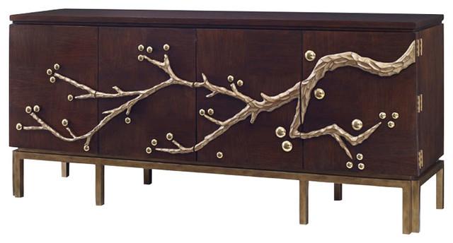 Ambella Home Collection Cherry Blossom Media Cabinet, Walnut