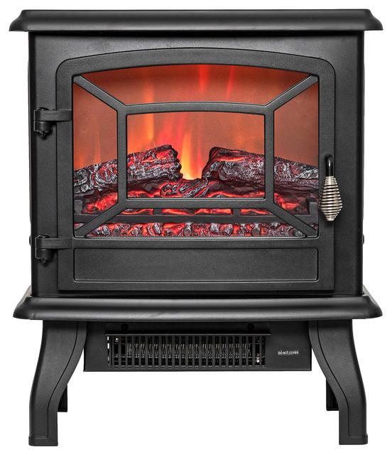 Golden Vantage 17 Freestanding Tempered Glass 3d Flames Logs Fireplace Heater.