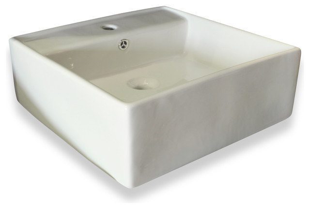 Square Ceramic Sink With Overflow Valve White 18 5