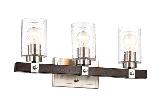 3-Light Brushed Nickel and Wood Vanity With Seedy Glass Sconces Farmhouse
