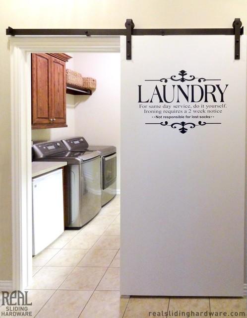 Laundry room barn door hardware traditional dallas for Sliding laundry door