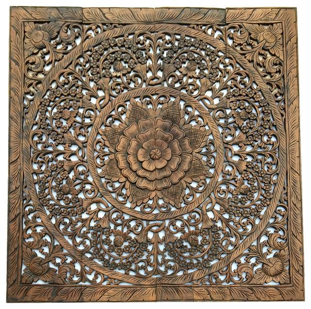 Elegant Wood Carved Fl Bali Art Wall Panel Dark Brown