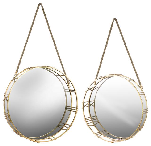 Metal Mirrors, 2-Piece Set, Metallic Gold.