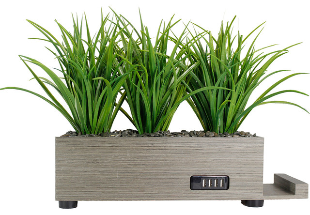 4 Port Black Grass Charging Station Contemporary